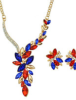 Fashion Colorful Rhinestone Flower Necklace Earrings Set