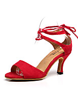 Customizable Women's Dance Shoes Flocking Flocking Latin Sandals Stiletto Heel Practice / Beginner / Professional / Indoor / Performance