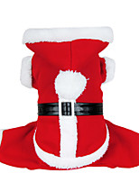 Dog Costume / Coat / Hoodie Red Dog Clothes Winter Solid Cute / Cosplay / Christmas
