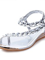 Women's Sandals Summer Comfort PU Casual Flat Heel Crystal Silver / Gold Others