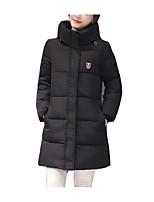 Пальто Простое Обычная Пуховик Женский,Однотонный На каждый день / Большие размеры Хлопок / Полиэстер Хлопок / Полиэстер,Длинный рукав