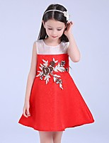 Girl's Casual/Daily Patchwork / Jacquard Dress,Cotton / Polyester All Seasons Blue / Red