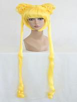 peluca cosplay ondulada del anime Sailor Moon Sailor Moon amarillo limón dos trenzas de 140 cm de largo