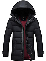 Men's Regular Down Coat,Simple Casual/Daily Solid-Polyester White Duck Down Long Sleeve Hooded Red / Black