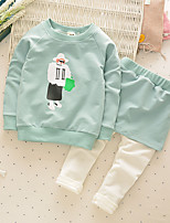 Girl's Casual/Daily Print Clothing SetCotton Fall Green / Pink