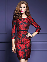 Women's Plus Size / Going out Street chic Sheath Dress,Jacquard Round Neck Above Knee ¾ Sleeve Red Polyester Fall Mid Rise Micro-elastic