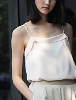 Chemisier Femme,Couleur Pleine Décontracté / Quotidien Vintage Eté Sans Manches A Bretelles Rose Polyester Fin