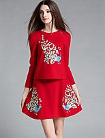 Women's Going out Street chic Fall Skirt Suits,Print Round Neck Long Sleeve Red Polyester