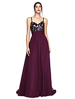 2017 TS Couture® Formal Evening Dress - Sparkle & Shine A-line Spaghetti Straps Sweep / Brush Train Chiffon with Ruching / Sequins