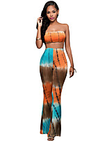 Orange Teal Tie-dye Two-piece Pants Set