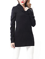 Women's Going out / Casual/Daily Sexy / Street chic Long Pullover,Solid Black Peter Pan Collar Long Sleeve Others Fall / Winter Medium