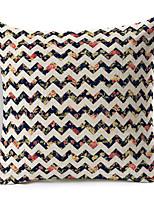 1 pcs Polyester Housse de coussin,Fleur / Rayé Moderne/Contemporain / Décoratif