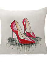 Polyester Decorative Cushion Pillow Cover Red Shoe Sofa Home Decor 45x45cm