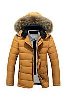 Пальто Простое Обычная Пуховик Мужчины,Однотонный На каждый день Полиэстер Пух белой утки,Длинный рукав Черный / Желтый