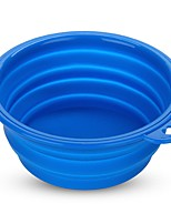 Silicone Cat Pet Dog Bowl Travel Camping Food Drink Collapsible Blue