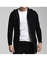 Men's Casual/Daily Simple Trench Coat,Solid Long Sleeve Fall / Winter Black Cotton