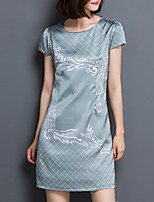 Women's Plus Size / Casual/Daily Vintage Sheath DressPrint Round Neck Above Knee Short Sleeve Gray Polyester All Seasons