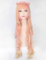 Blonde mixed Pink Long Wave Fashion Beauty Lolita Wigs New Style Heat Resistant Coplay Party Hair Wigs