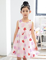 Girl's Casual/Daily Print Dress,Cotton / Polyester Summer Pink / Purple / Yellow