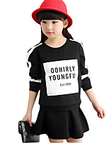 Girl's Casual/Daily Print Dress / Clothing SetCotton Spring / Fall Black / Red