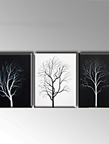 Hand-Painted Black White Three 3 Panels Canvas Oil Painting For Home Decoration with Stretched Frame Ready To Hang