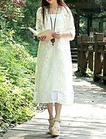 Damen Solide Einfach Lässig/Alltäglich Hemd,V-Ausschnitt Sommer Langarm Weiß Spezielle Lederarten Dünn