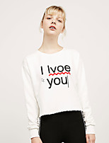 Women's Going out Simple Regular Hoodies,Letter White Round Neck Long Sleeve Polyester Fall Medium Micro-elastic