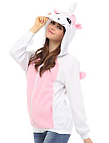 Cute Pink Unicorn Hoodie Jacket Polar Fleece Kigurumi  Casual Top Cosplay Costume Adult Unisex