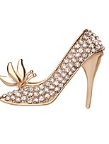 Hot Sale Shining Crystal Butterfly High-heeled Shoes Brooch for Women