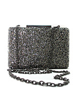 Ladies Luxuriant Crystal Clutch Hand Bag Purse Grey