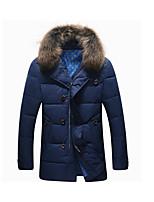 Пальто Простое Обычная Пуховик Мужчины,Однотонный На каждый день Полиэстер Пух белой утки,Длинный рукав Синий