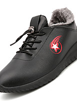 Men's Casual Shoes Warm Sneakers Comfort Synthetic Casual Flat Heel Lace-up Black / White / Red