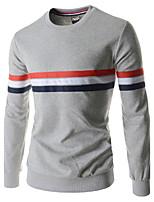 Herren Standard Pullover-Ausgehen Lässig/Alltäglich Einfach Street Schick Solide Gestreift Schwarz Grau Rundhalsausschnitt Langarm