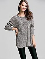 Women's Going out / Casual/Daily / Holiday Simple / Street chic Regular Pullover,Solid Gray Round Neck Long Sleeve Acrylic Fall / Winter