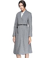 Женский На каждый день Однотонный Пальто V-образный вырез,Простое Осень Серый Длинный рукав,Шерсть / Нейлон,Плотная