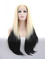 Sylvia Synthetic Lace front Wig Blonde To Black Hair Ombre Hair Heat Resistant Long Straight Synthetic Wigs
