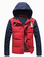 Men's Down Coat,Simple Plus Size / Casual/Daily Solid-Cotton Without Filling Material Long Sleeve Red / Brown / Yellow