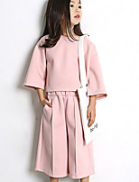 Girl's Casual/Daily Solid Clothing SetCotton Spring / Fall Pink / Gray