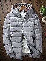 Men's Padded Coat,Simple Casual/Daily Solid-Others Polyester Long Sleeve Hooded Gray