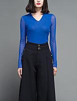 Tee-shirt Femme,Couleur Pleine Décontracté / Quotidien simple Printemps Manches Longues Col en V Bleu Polyester Fin