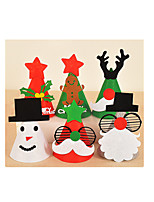 Two Packaged For Sale Wearable Cartoon Non-Woven Christmas Hat