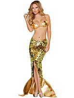 Cosplay Costumes Party Costume Mermaid Tail Fairytale Festival/Holiday Halloween Costumes Golden Patchwork Skirt Dress BraHalloween