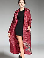 Женский На каждый день Вышивка ПальтоШинуазери (китайский стиль) Красный / Черный / Зеленый Длинный рукав,Полиэстер
