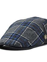 Men England Vintage Casual Tweed Plaid Wool Beret Casquette Hat