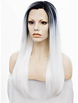 imstyle 24''heat résistant longue ligne droite synthétique blanc devant naturel dentelle perruques racine noire