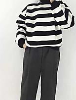Women's Casual/Daily Simple Regular HoodiesStriped Black Turtleneck Long Sleeve Cotton Fall Medium Micro-elastic