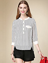 Women's Casual/Daily Simple Fall Blouse,Striped Crew Neck ¾ Sleeve White Cotton Thin