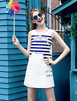 Women's Casual/Daily Simple Short HoodiesStriped White Round Neck Sleeveless Polyester Spring / Summer Thin Inelastic