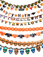 1PC 4M The Haunted House Bar Scene Props Halloween Pumpkins Skeleton Garland Decoration Supplies