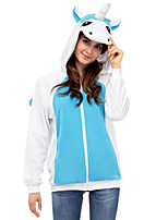 Cute Blue Unicorn Hoodie Jacket Polar Fleece Kigurumi  Casual Top Cosplay Costume Adult Unisex